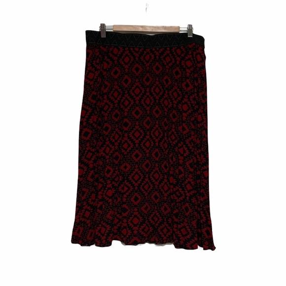 Lularoe Pleated Jill Skirt in Red & Black Sz 2X